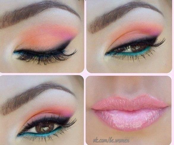 Нежный макияж к персиковому платью