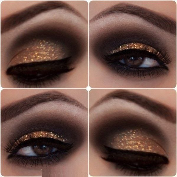 Ночные макияжи на карие глаза